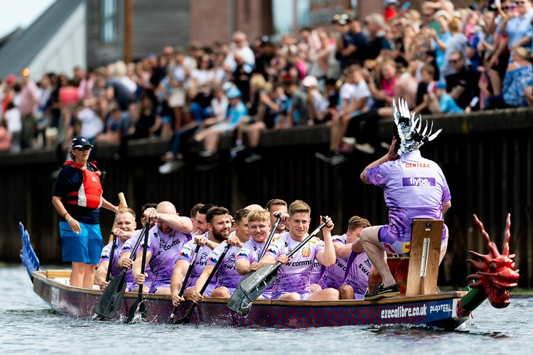 Exeter Chiefs dragon boat racing at The Quay