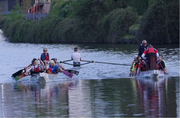 Exe-Calibre dragon boat racing on the Exeter canal.